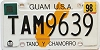 1998 GUAM graphic license plate # TAM9639