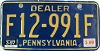 1998 PENNSYLVANIA DEALER license plate # F12-991F
