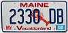 1999 MAINE Lobster graphic license plate # 2330 DB