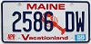 1999 MAINE Lobster graphic license plate # 2586 DW