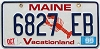 1999 MAINE Lobster graphic license plate # 6827 EB