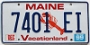 1999 MAINE Lobster graphic license plate # 7401 EI