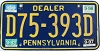 1999 PENNSYLVANIA DEALER license plate # D75-393D