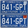 2000 CONNECTICUT Constitution State license plates pair # 841-GPT