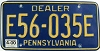 2000 PENNSYLVANIA DEALER license plate # E56-035E