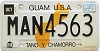 2001 GUAM graphic license plate # MAN4563