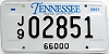 2001 TENNESSEE 66,000 Truck license plate # 2851