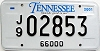 2001 TENNESSEE 66,000 Truck license plate # 2853
