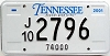 2001 TENNESSEE 74,000 Truck license plate # 2796