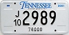 2001 TENNESSEE 74,000 Truck license plate # 2989