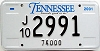 2001 TENNESSEE 74,000 Truck license plate # 2991