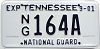 2001 TENNESSEE National Guard license plate # 164A