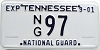 2001 TENNESSEE National Guard license plate low # 97