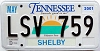 2001 TENNESSEE Sounds Good to Me graphic license plate # LSV-759