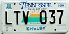 2001 TENNESSEE Sounds Good to Me graphic license plate # LTV-037