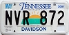 2001 TENNESSEE Sounds Good to Me graphic license plate # NVR-872