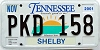 2001 TENNESSEE Sounds Good to Me graphic license plate # PKD-158