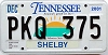 2001 TENNESSEE Sounds Good to Me graphic license plate # PKQ-375