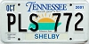 2001 TENNESSEE Sounds Good to Me graphic license plate # PLS-772
