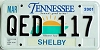 2001 TENNESSEE Sounds Good to Me graphic license plate # QED-117