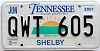 2001 TENNESSEE Sounds Good to Me graphic license plate # QWT-605