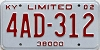 2002 KENTUCKY 38,000 limited license plate # 4AD-312