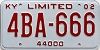 2002 KENTUCKY 44,000 limited license plate # 4BA-666