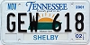 2002 TENNESSEE Sounds Good to Me graphic license plate # GEW-218