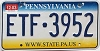 2003 PENNSYLVANIA graphic license plate # ETF-3952
