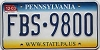 2003 PENNSYLVANIA graphic license plate # FBS-9800