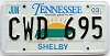2003 TENNESSEE Sounds Good to Me graphic license plate # CWD-695
