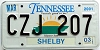 2003 TENNESSEE Sounds Good to Me graphic license plate # CZJ-207