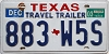 2003 TEXAS Travel Trailer license plate # 883-W5S