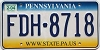 2004 PENNSYLVANIA graphic license plate # FDH-8718