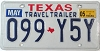 2005 TEXAS TRAVEL TRAILER license plate # 099-Y5Y