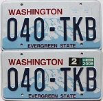 2006 WASHINGTON  graphic license plates pair # 040-TKB