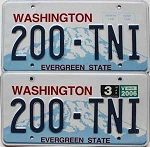 2006 WASHINGTON  graphic license plates pair # 200-TNI