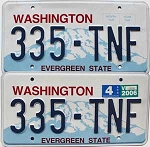 2006 WASHINGTON  graphic license plates pair # 335-TNF