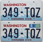 2006 WASHINGTON  graphic license plates pair # 349-TQZ