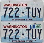 2006 Washington pair # 722-TUY