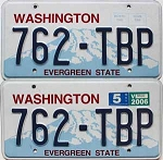 2006 WASHINGTON graphic license plates pair # 762-TBP
