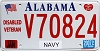2007 Alabama Navy Disabled Veteran graphic # V70824