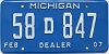 2007 Michigan Dealer # 58D847