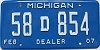 2007 Michigan Dealer # 58D854
