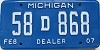 2007 Michigan Dealer # 58D868