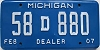 2007 Michigan Dealer # 58D880