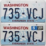 2007 Washington pair # 735-VCJ