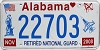 2008 Alabama Retired National Guard # 22703