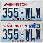 2008 WASHINGTON graphic license plates pair # 355-WLW