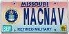 2009 Missouri Retired Military Air Force #MACNAV